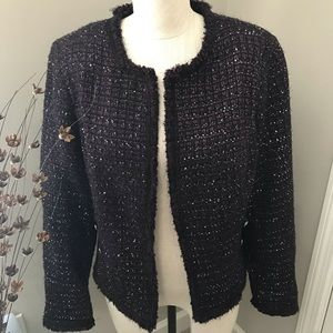 WHBM Sequin Tweed Sweater Jacket